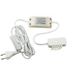 Блок питания для LED, 8W, 350mA, распр. блок для 6 светильн., выкл, кабель 1,8m