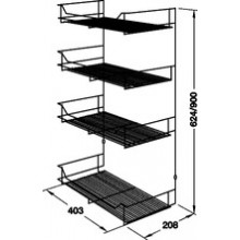 Полка для шкафов хромированная 403x208x900 мм