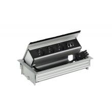 Выдвижной блок 3 розетки + 2 разъема RJ45, алюминий серебряный, с откидным блоком электроснабжения